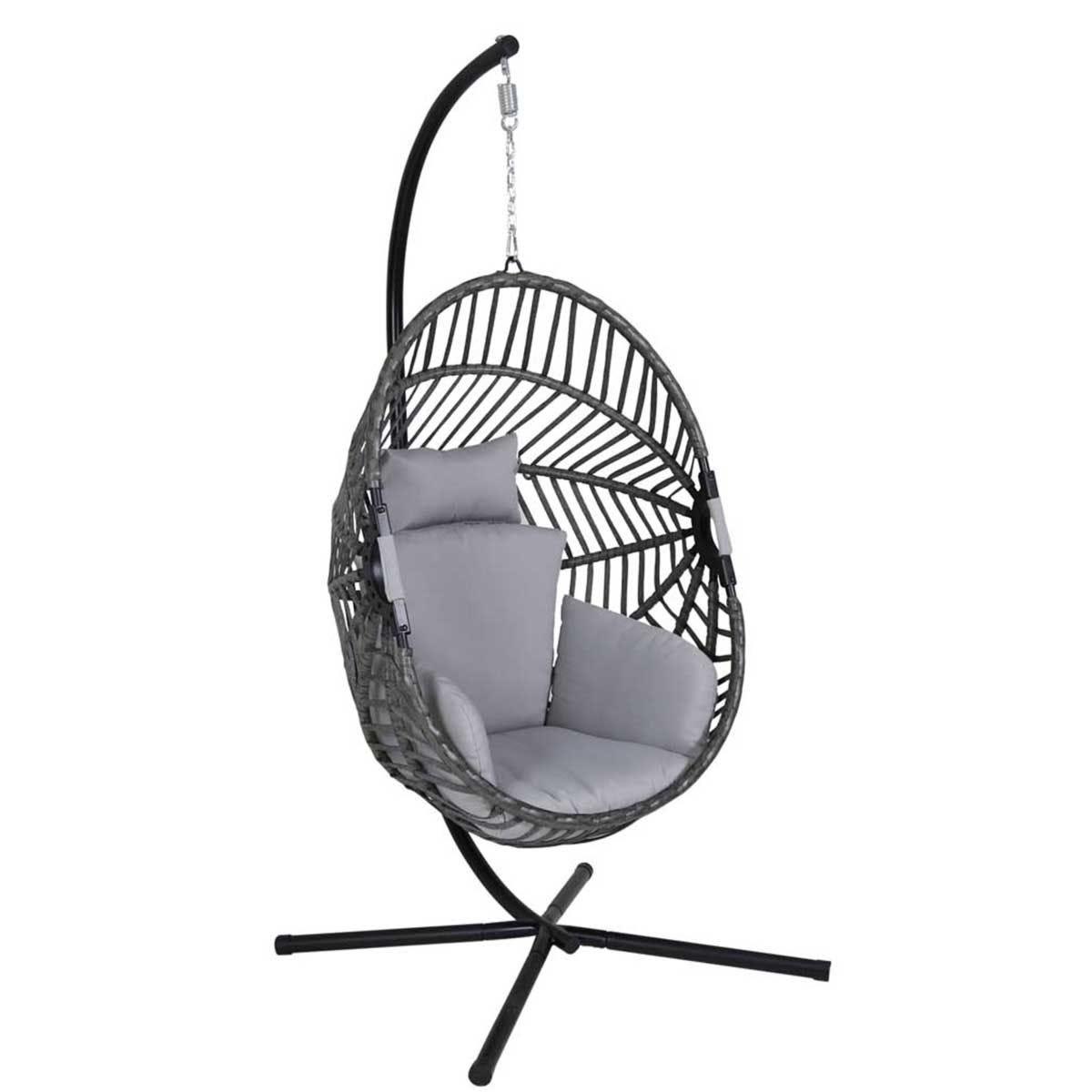 Charles Bentley Egg Shaped Swing Chair - Grey