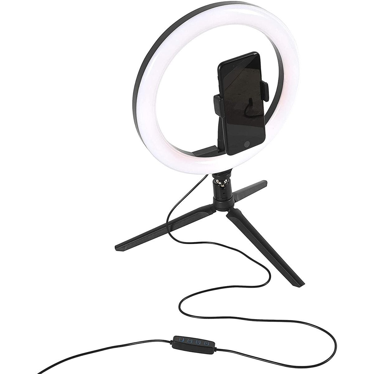 Intempo Sync Desktop Selfie Light Ring Stand with Phone Holder - 26 cm, 3 Light Modes & USB Powered