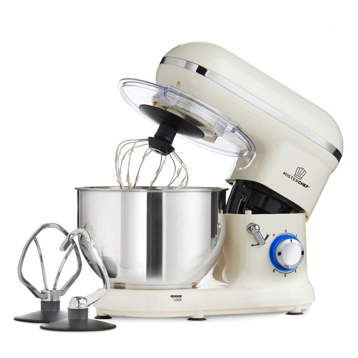 MisterChef 50147 Professional Electric Kitchen 1400W Food Stand Mixer - Cream
