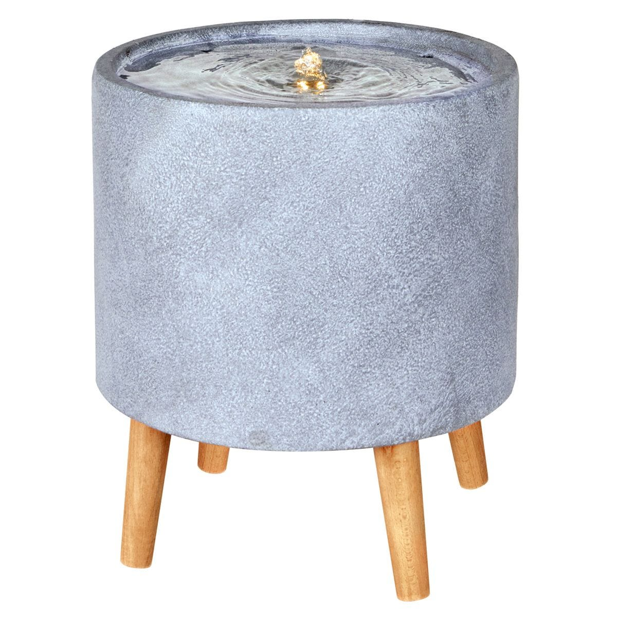 The Outdoor Living Company Circular Contemporary Feature with Legs and LEDs - Grey