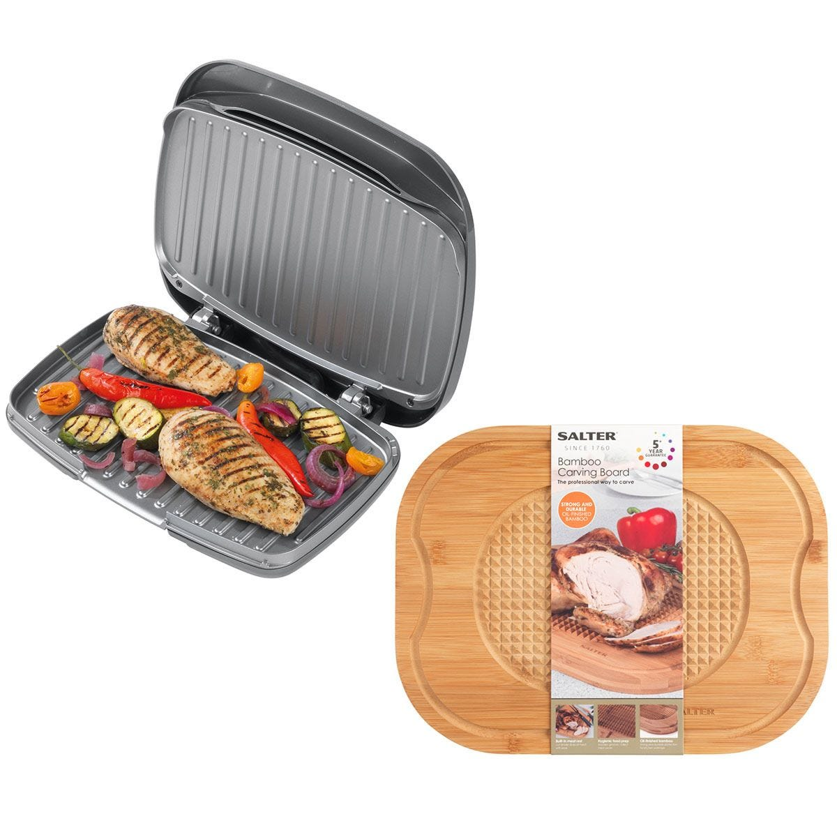 Salter COMBO-7113 1000W Cosmos Health Grill with Bamboo Carving Board - Grey