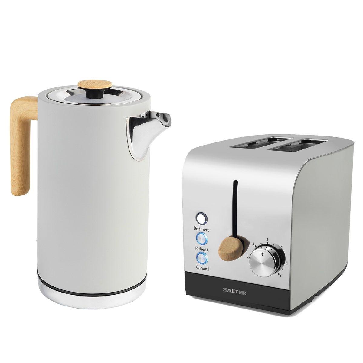Salter COMBO-4762 Skandi 1.7L Jug Kettle and 2-Slice Toaster Set - Grey