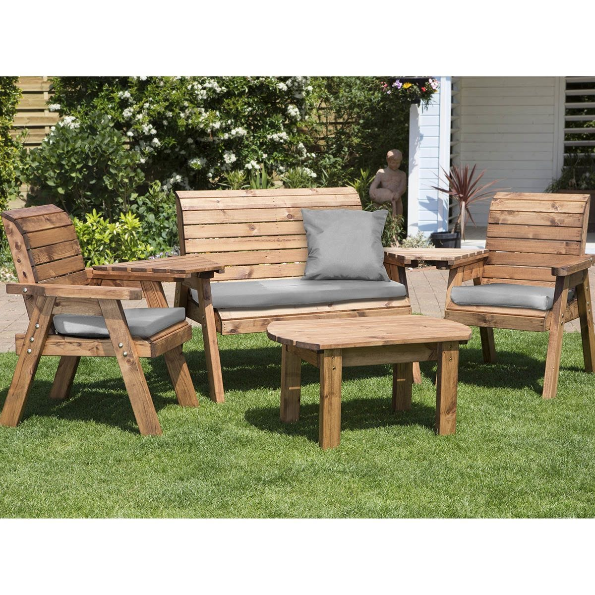 Charles Taylor Four Seater Multi Set with Grey Cushions