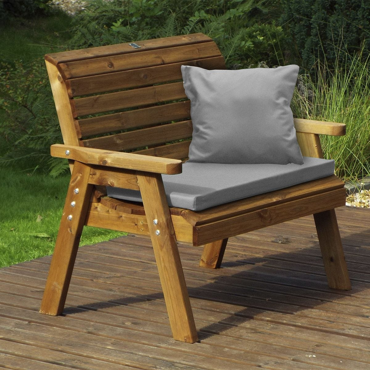 Charles Taylor Traditional Two Seater Bench with Grey Cushions