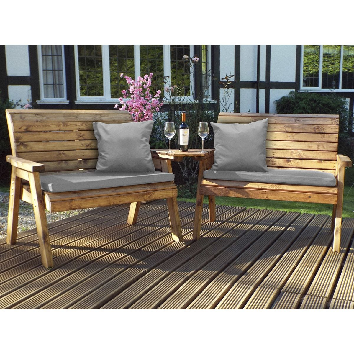 Charles Taylor Twin Bench Set Angled with Grey Cushions