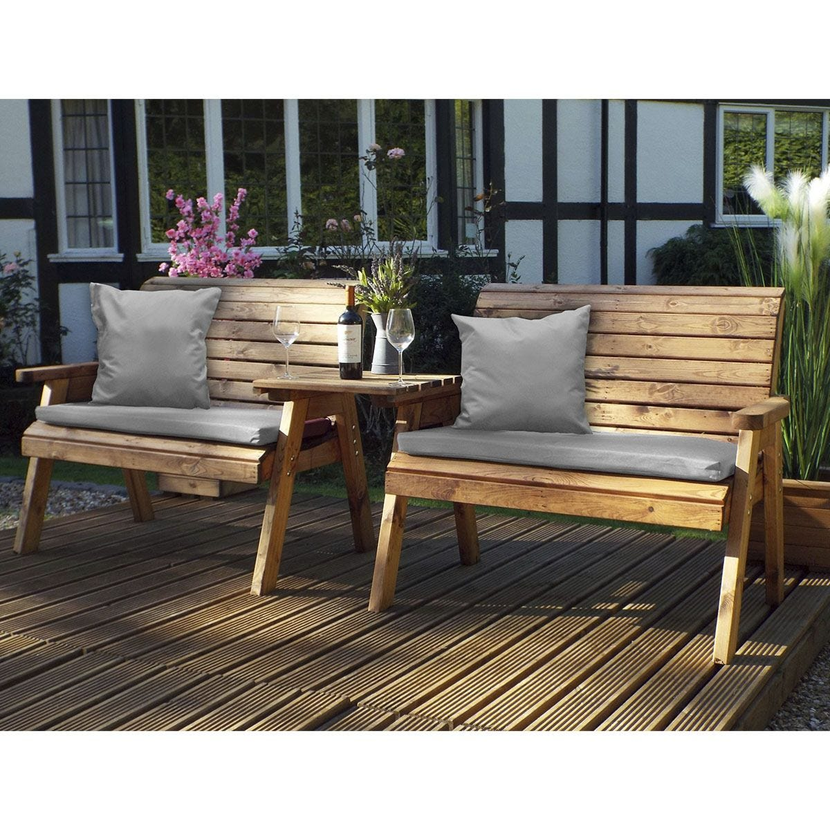 Charles Taylor Twin Bench Set Straight with Grey Cushions