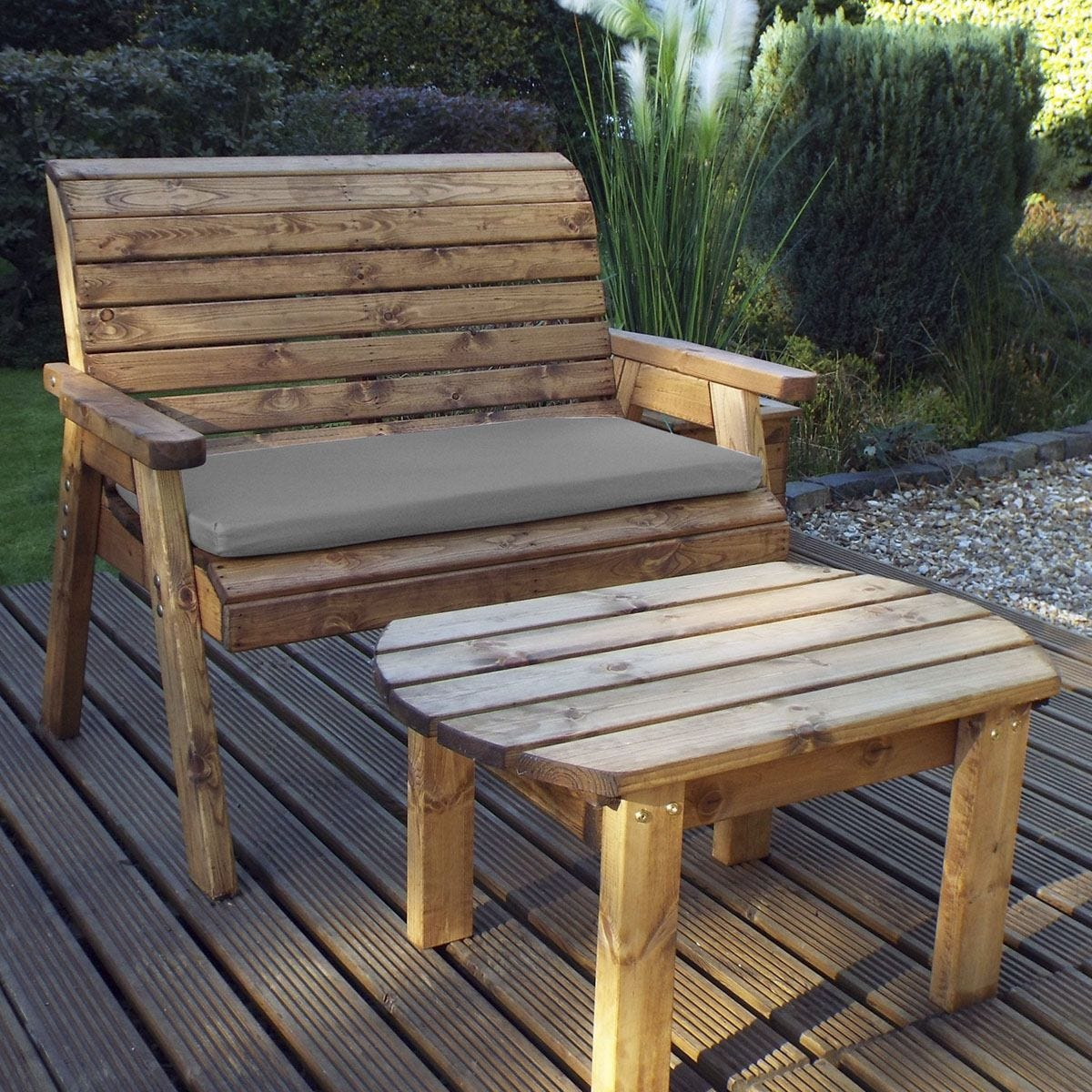 Charles Taylor Deluxe Bench Set with Grey Cushions