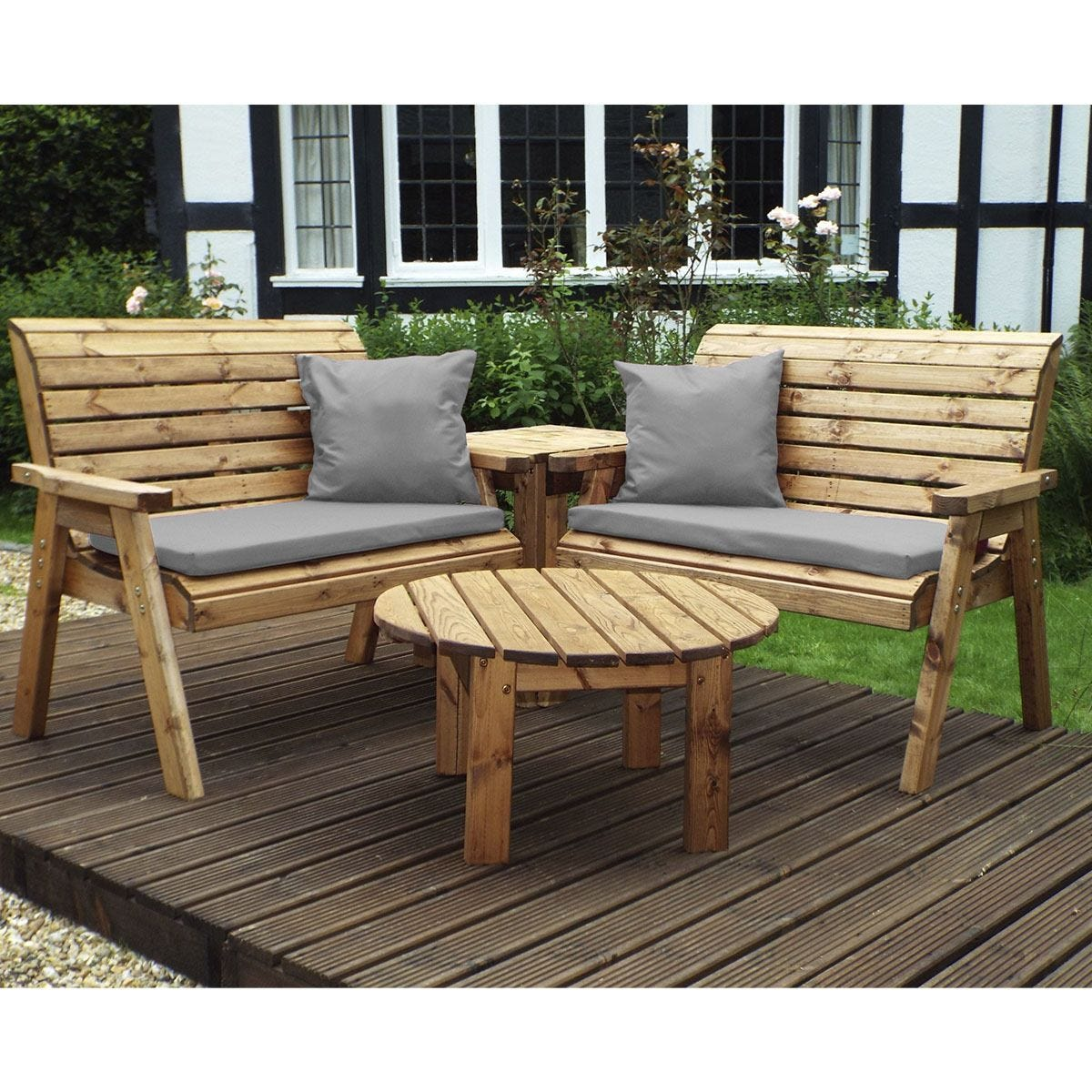 Charles Taylor Four Seater Corner Unit with Grey Cushions