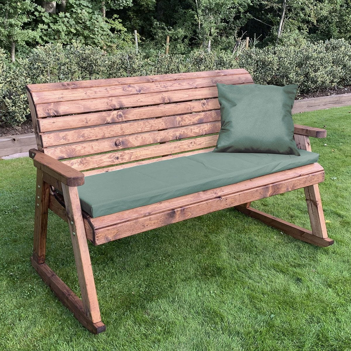 Charles Taylor Three Seater Rocker Bench with Green Cushions