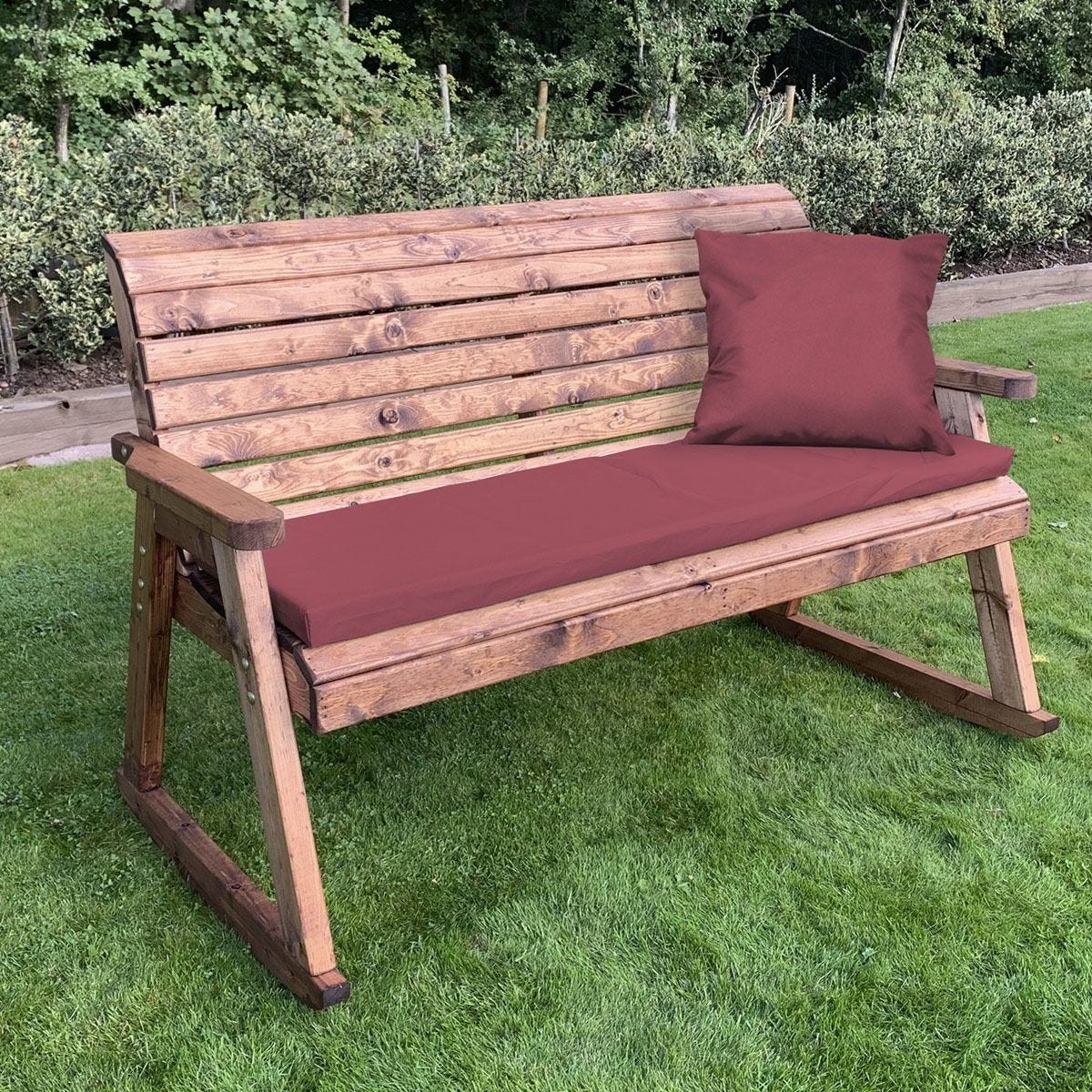 Charles Taylor Three Seater Rocker Bench with Burgundy Cushions