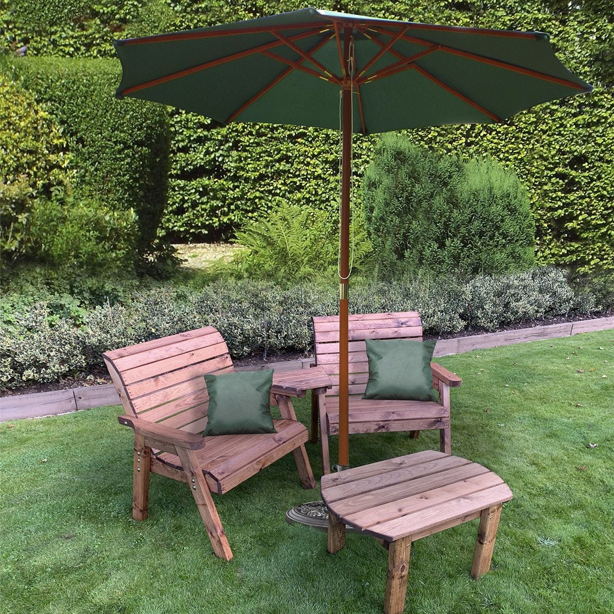 Charles Taylor Grand Twin Angled with Coffee Table and Green Parasol and Cushions