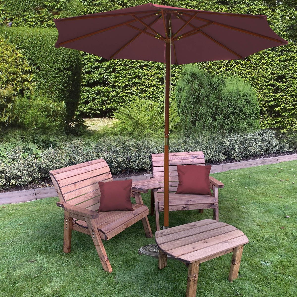 Charles Taylor Grand Twin Angled with Coffee Table and Burgundy Parasol and Cushions