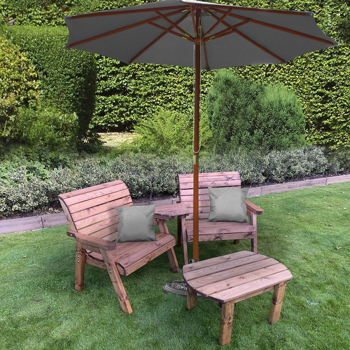 Charles Taylor Grand Twin Angled with Coffee Table and Grey Parasol and Cushions