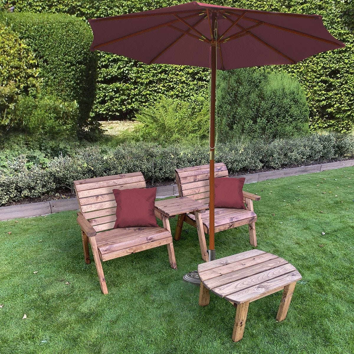 Charles Taylor Grand Twin Straight with Coffee Table and Burgundy Parasol and Cushions