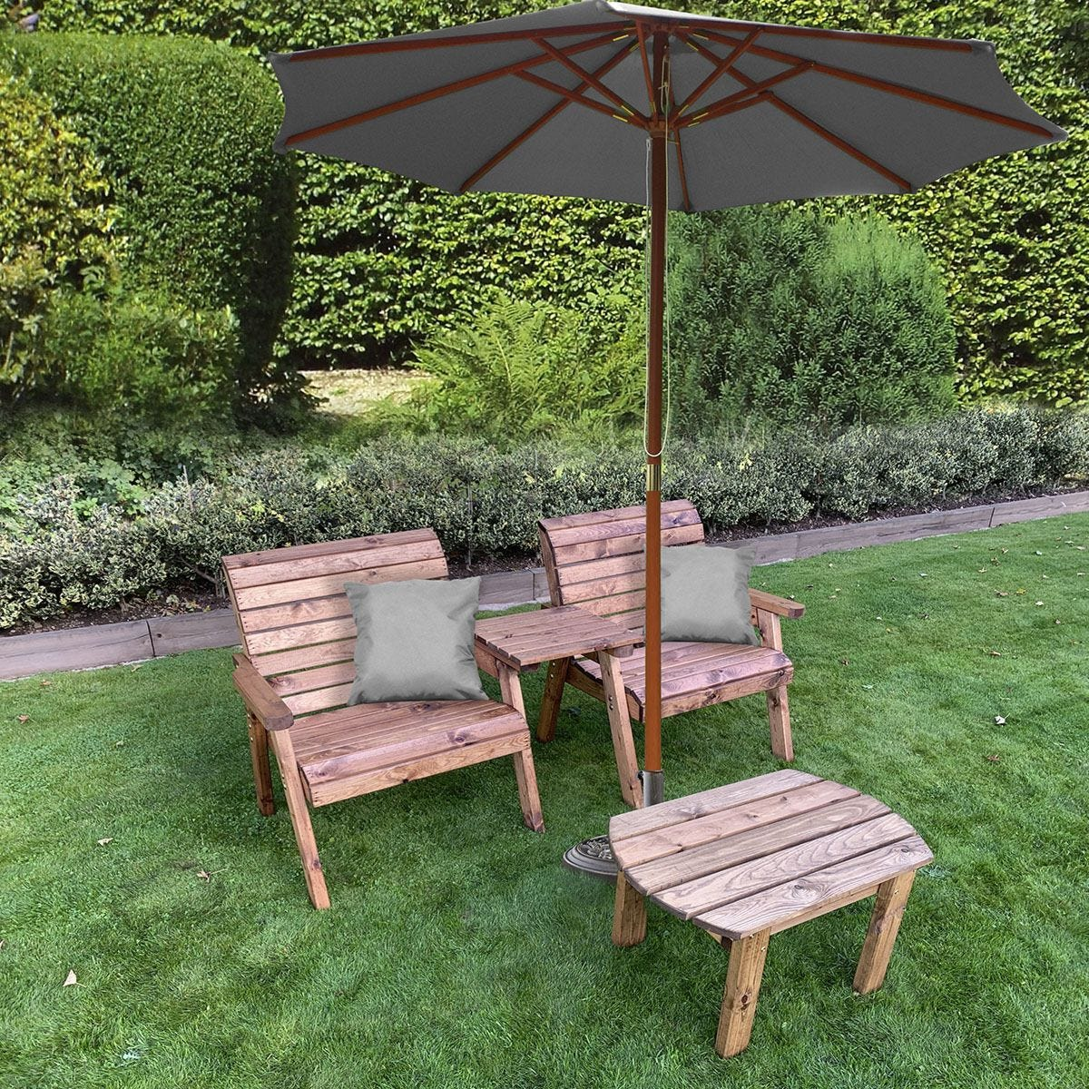 Charles Taylor Grand Twin Straight with Coffee Table and Grey Parasol and Cushions