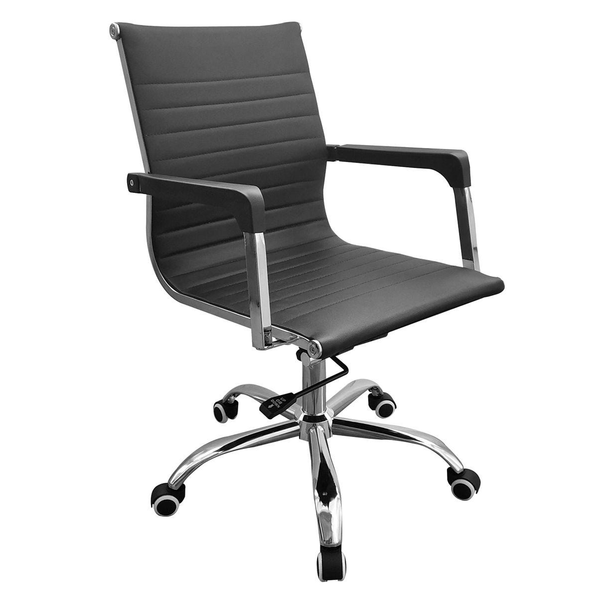 Loft Home Office Home Office Faux Leather Chair with Contour Back & Chrome Base - Black