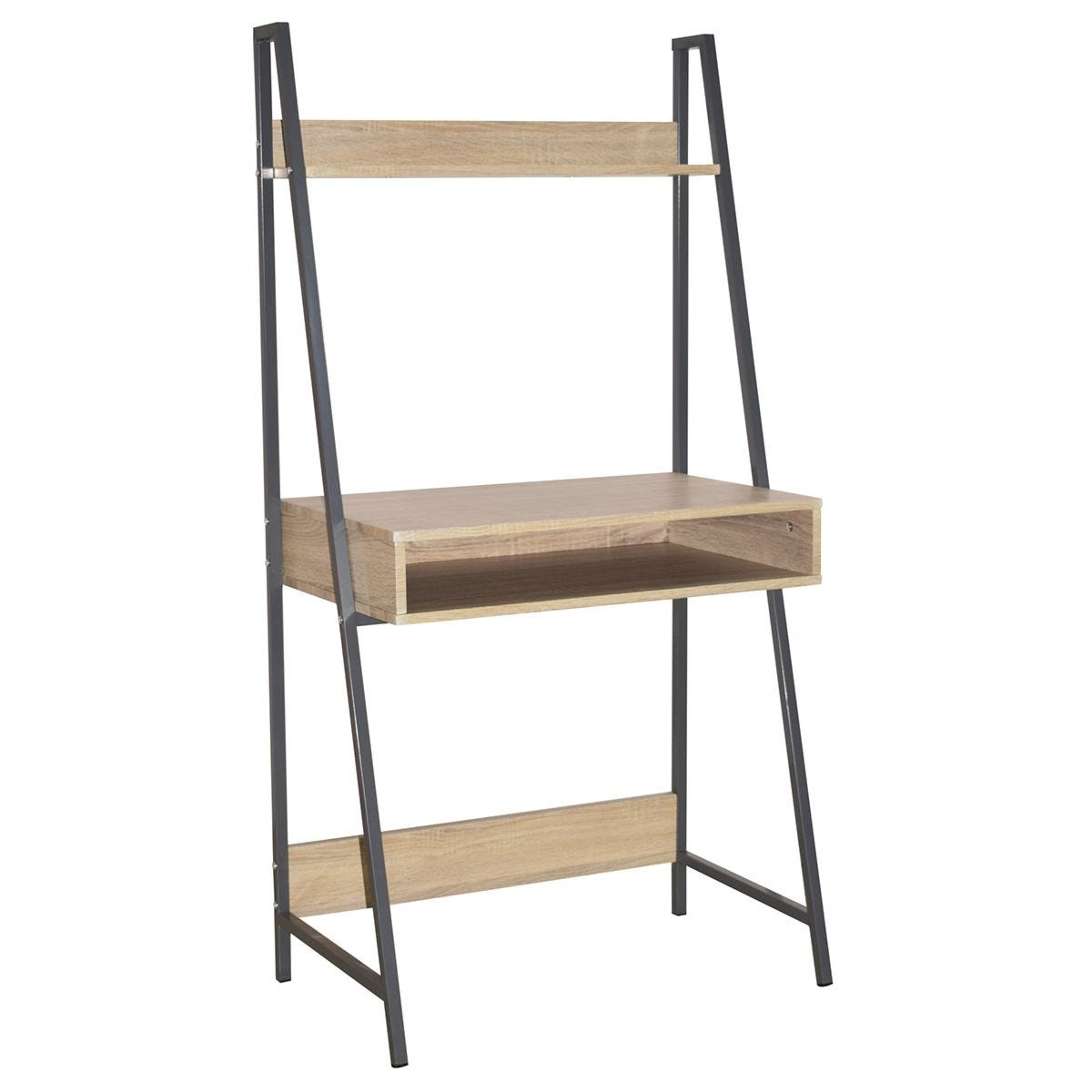 Loft Home Office Ladder Bookcase Desk with Oak Effect & Grey Metal Frames
