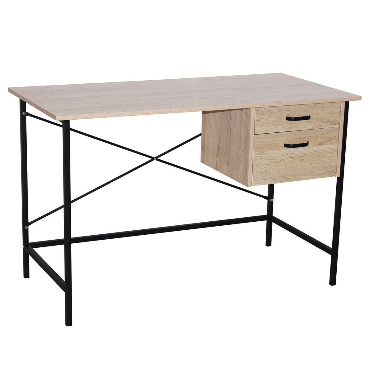 Loft Home Office 2 Drawer Desk with Oak Effect & Grey Metal Legs