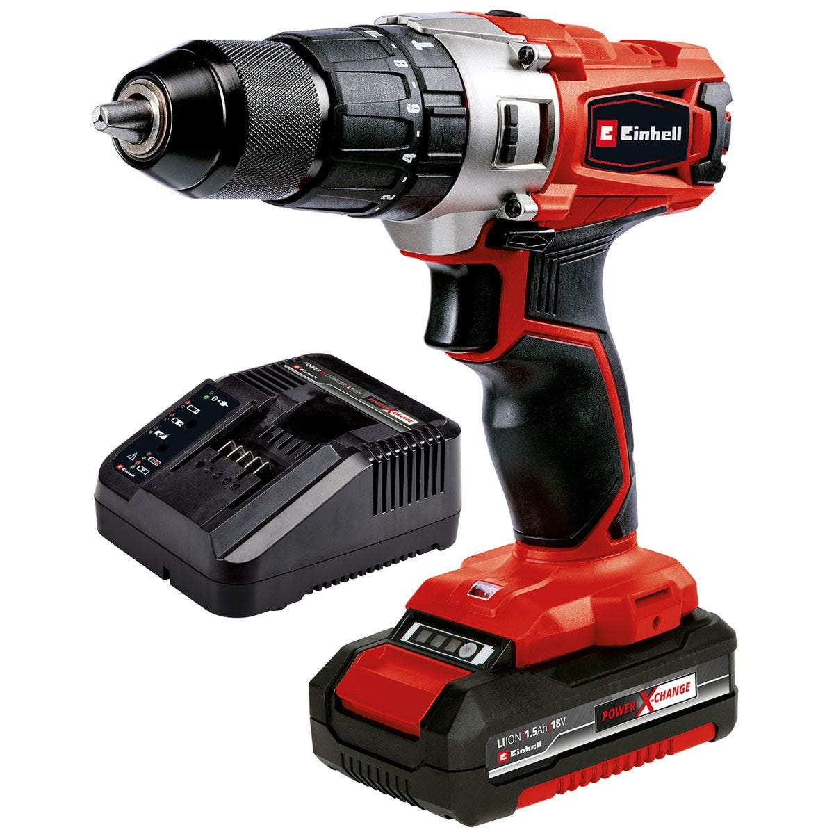 Einhell Power X-Change 18V Cordless Combi Drill with Carry Case and 1x 1.5Ah Battery
