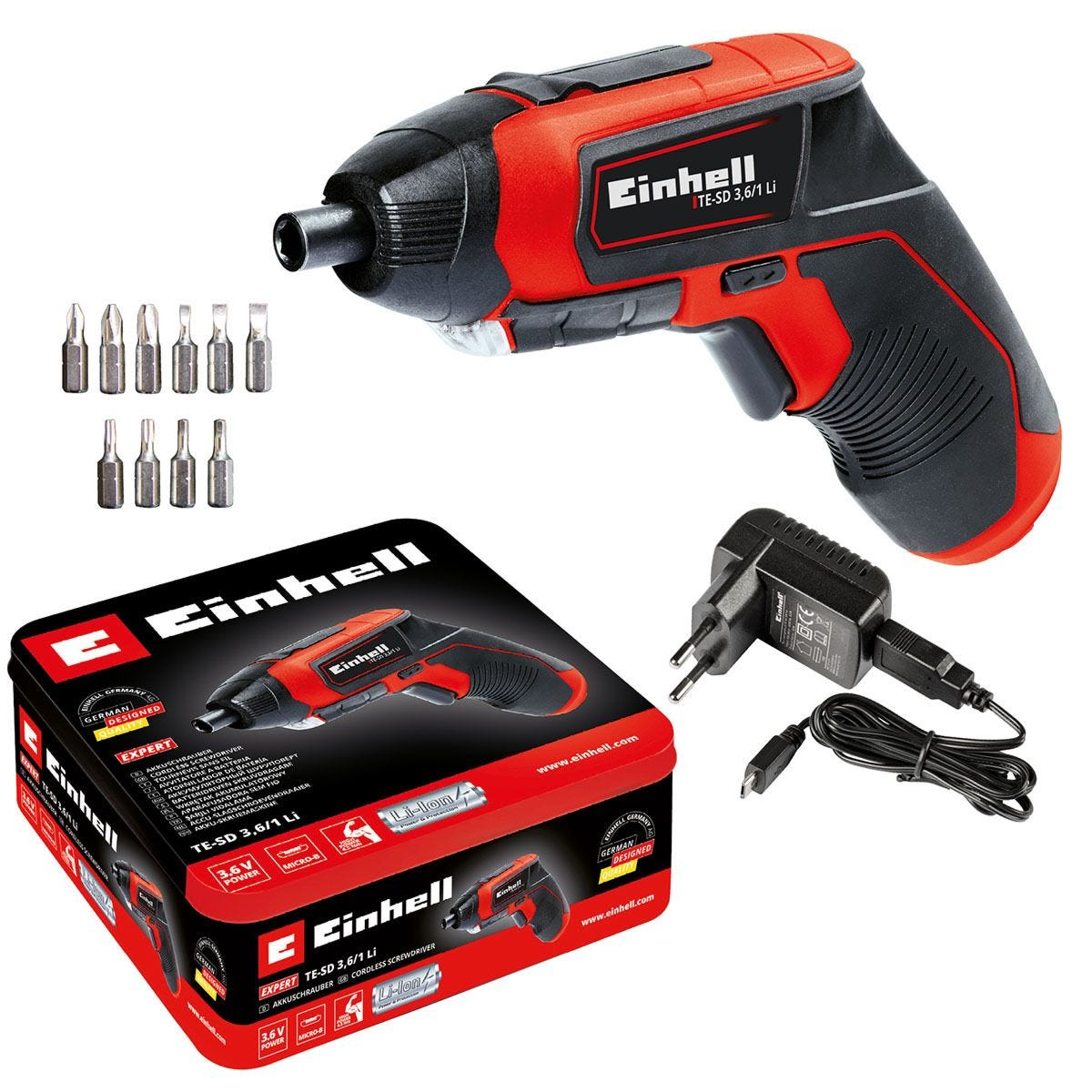 Einhell 3.6V Cordless Screwdriver with 10 Bits