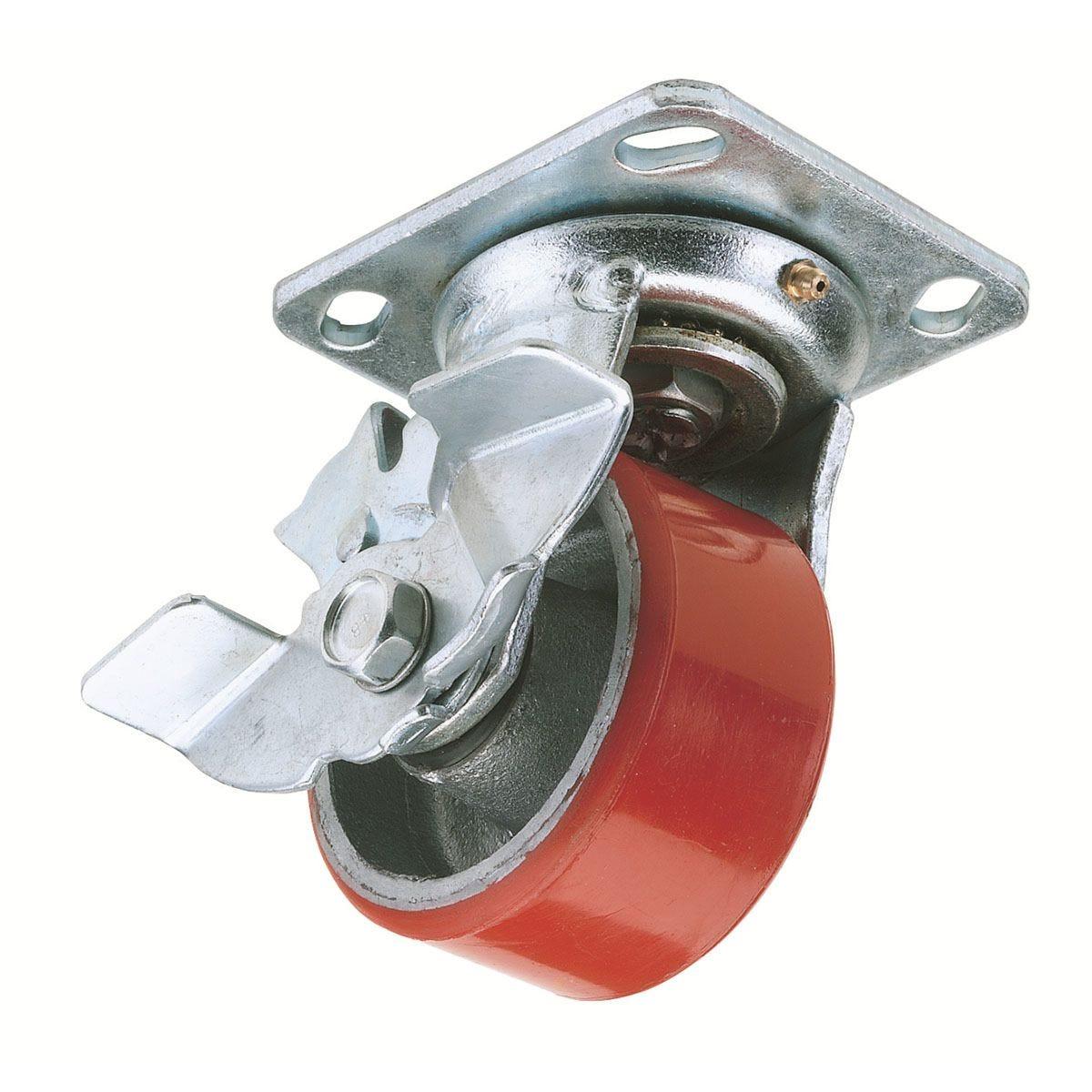Draper 125mm Diameter Swivel Plate Fi x Ing Heavy Duty Polyurethane Wheel with Brake - S.W.L. 300Kg