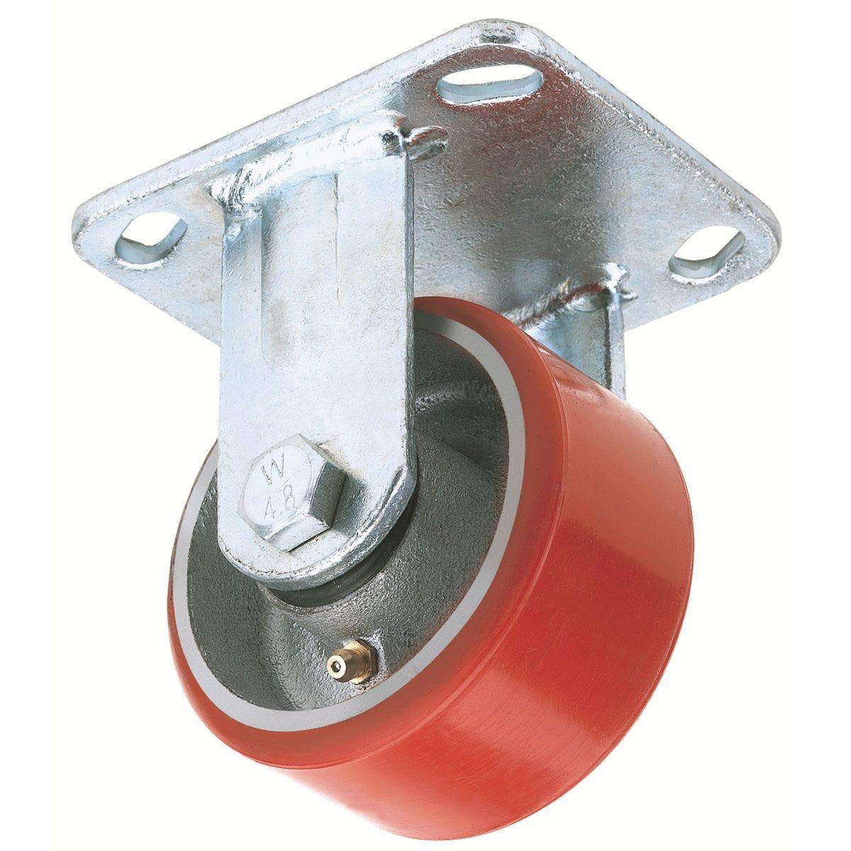Draper 200mm Diameter Fixed Plate Fi x ing Heavy Duty Polyurethane Wheel - S.W.L. 500Kg