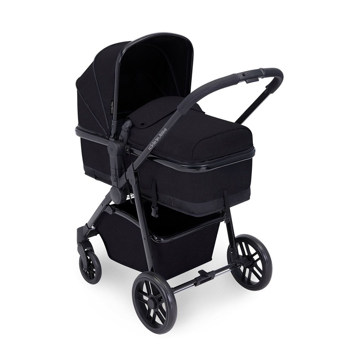 Ickle Bubba Moon 2 in 1 Pushchair - Black on Black with Black Handles