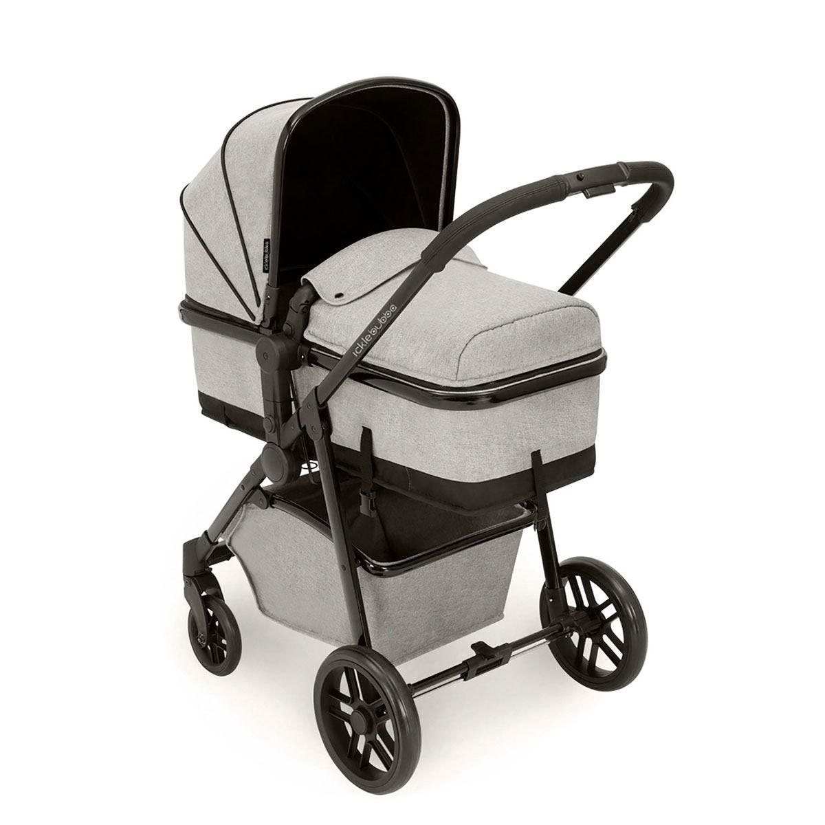 Ickle Bubba Moon 2 in 1 Pushchair - Silver Grey on Black with Black Handles