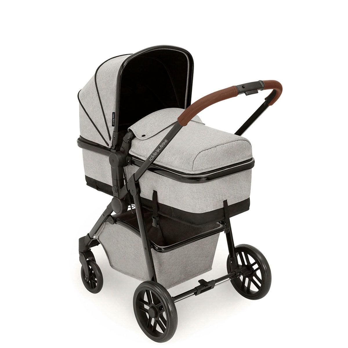 Ickle Bubba Moon 2 in 1 Pushchair - Silver Grey on Black with Tan Handles