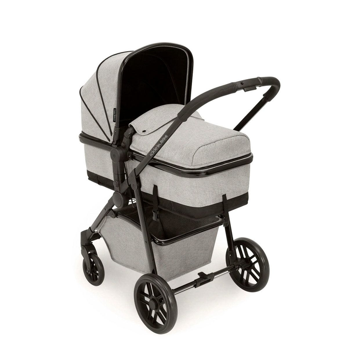 Ickle Bubba Moon 3 in 1 Travel System - Silver Grey on Black with Black Handles