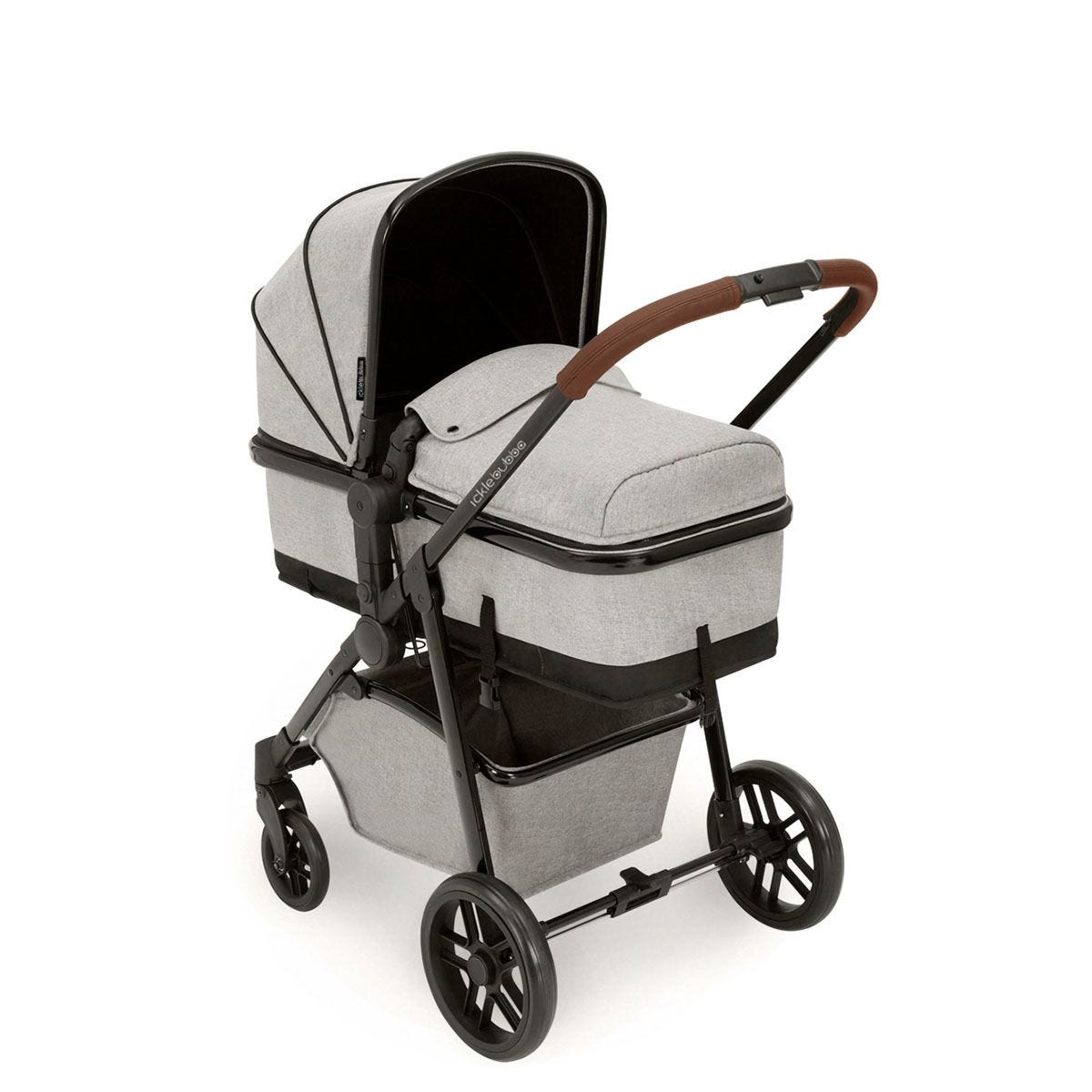 Ickle Bubba Moon 3 in 1 Travel System - Silver Grey on Black with Tan Handles