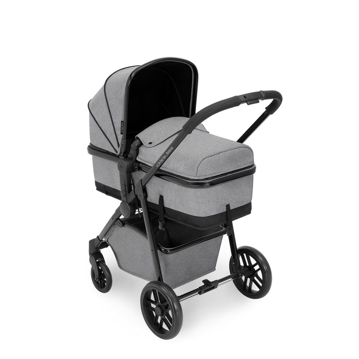 Ickle Bubba Moon 3 in 1 Travel System - Space Grey on Black with Black Handles