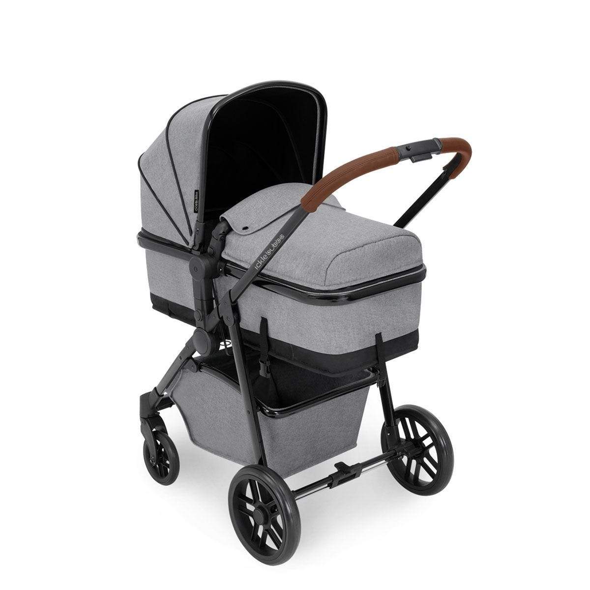 Ickle Bubba Moon 3 in 1 Travel System - Space Grey on Black with Tan Handles
