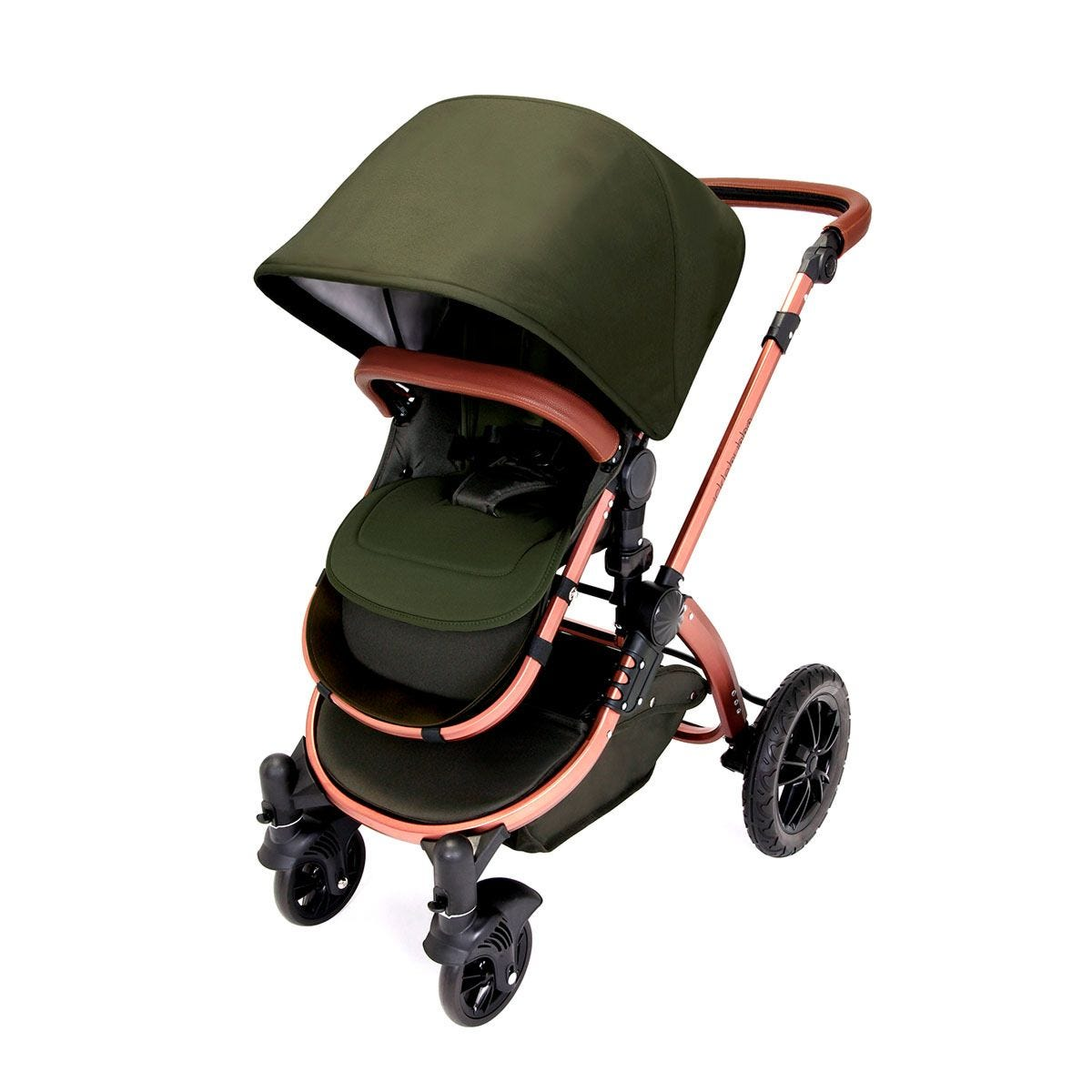 Ickle Bubba Stomp V4 i-Size Travel System with Isofix Base - Woodland on Bronze with Tan Handles