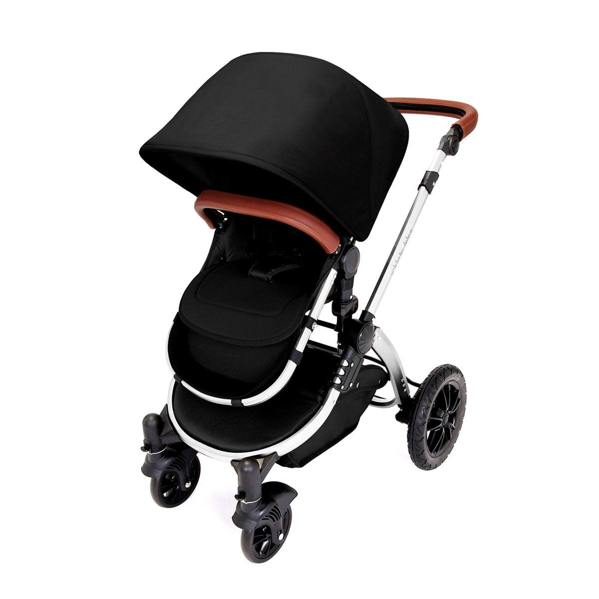 Ickle Bubba Stomp V4 i-Size Travel System with Isofix Base - Midnight on Chrome with Tan Handles