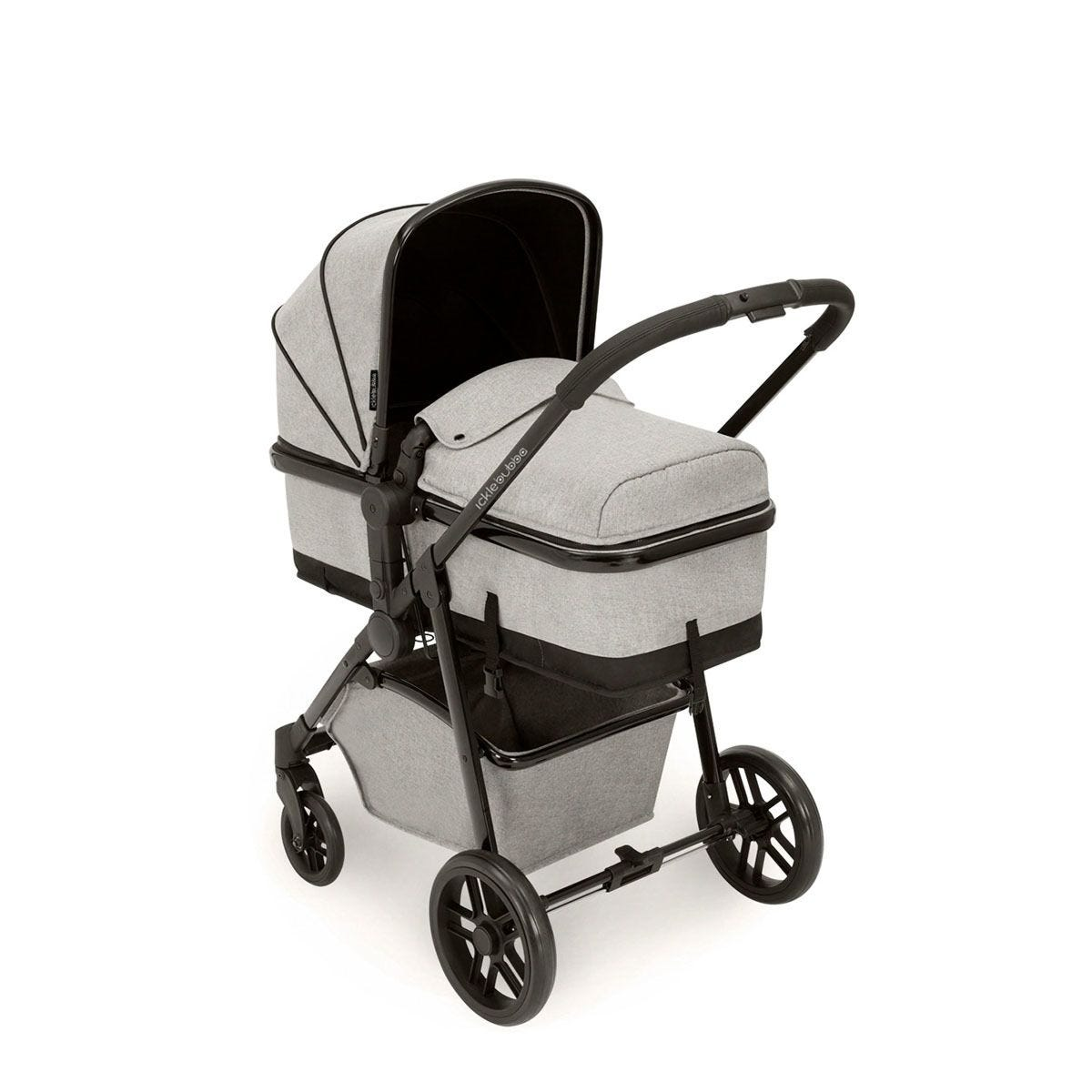 Ickle Bubba Moon 3 in 1 Travel System ISOFIX - Silver Grey on Black with Black Handles