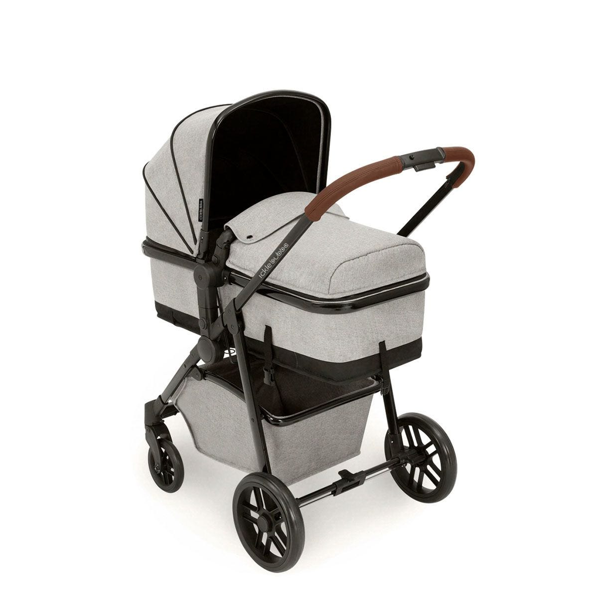 Ickle Bubba Moon 3 in 1 Travel System ISOFIX - Silver Grey on Black with Tan Handles