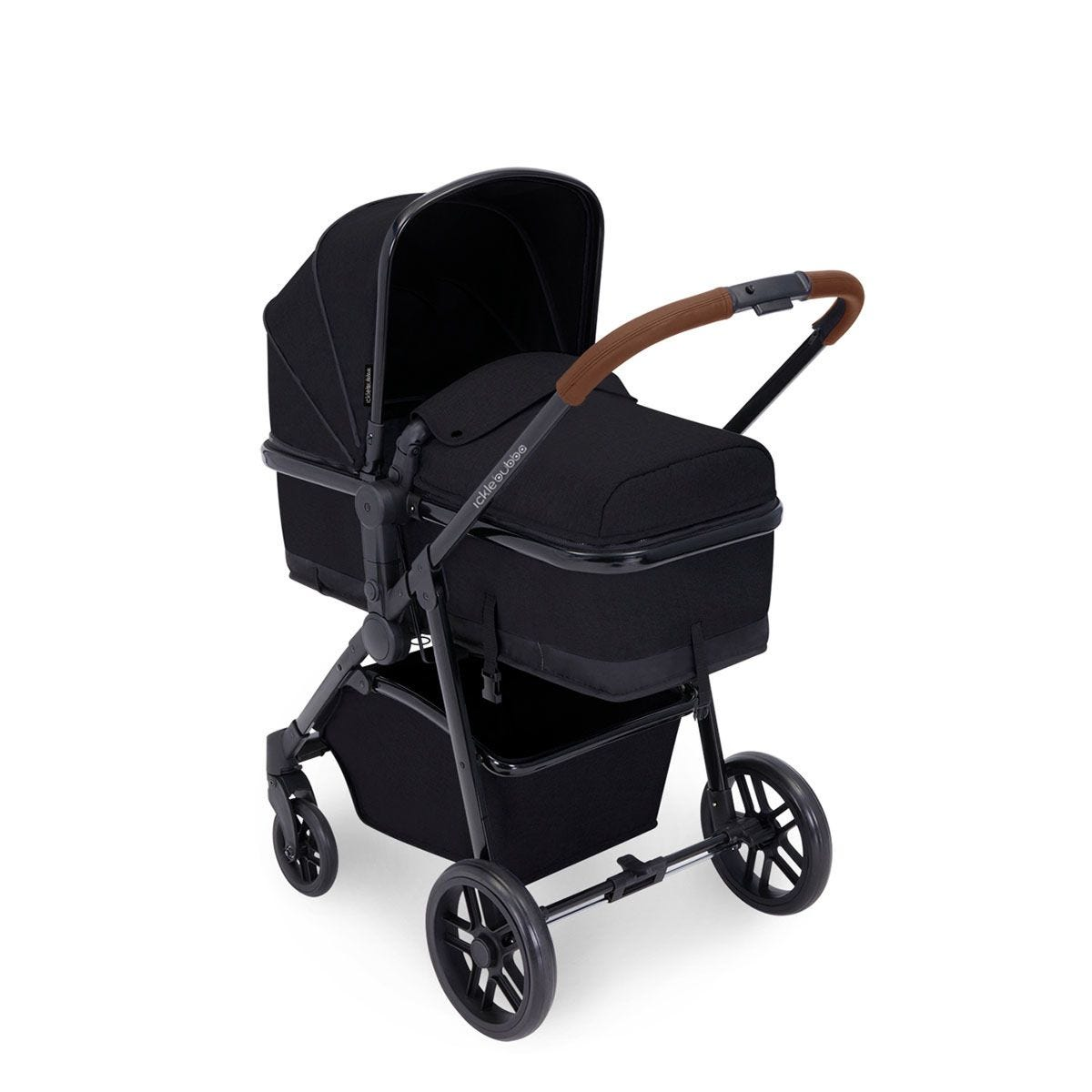 Ickle Bubba Moon i-Size 3 in 1 Travel System - Black on Black with Tan Handles