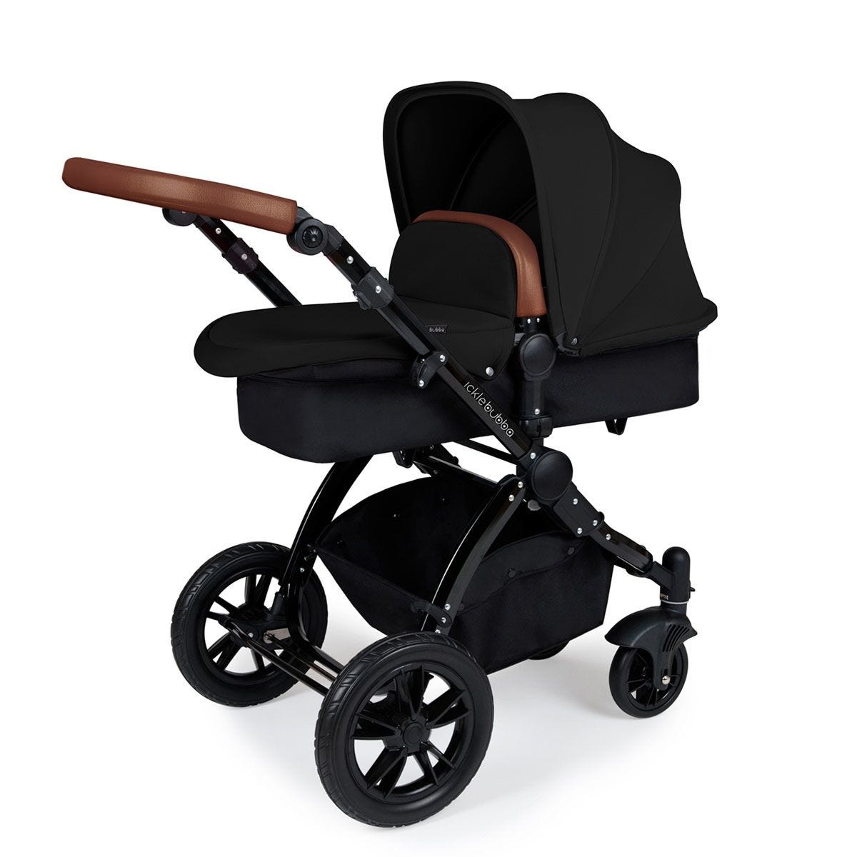 Ickle Bubba Stomp V3 2 in 1 Pushchair - Black on Black with Tan Handles