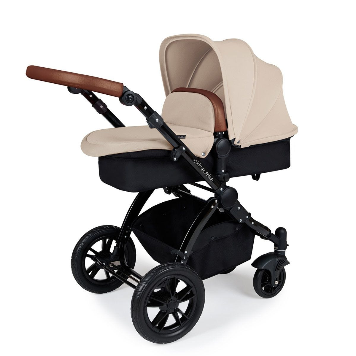 Ickle Bubba Stomp V3 2 in 1 Pushchair - Sand on Black with Tan Handles