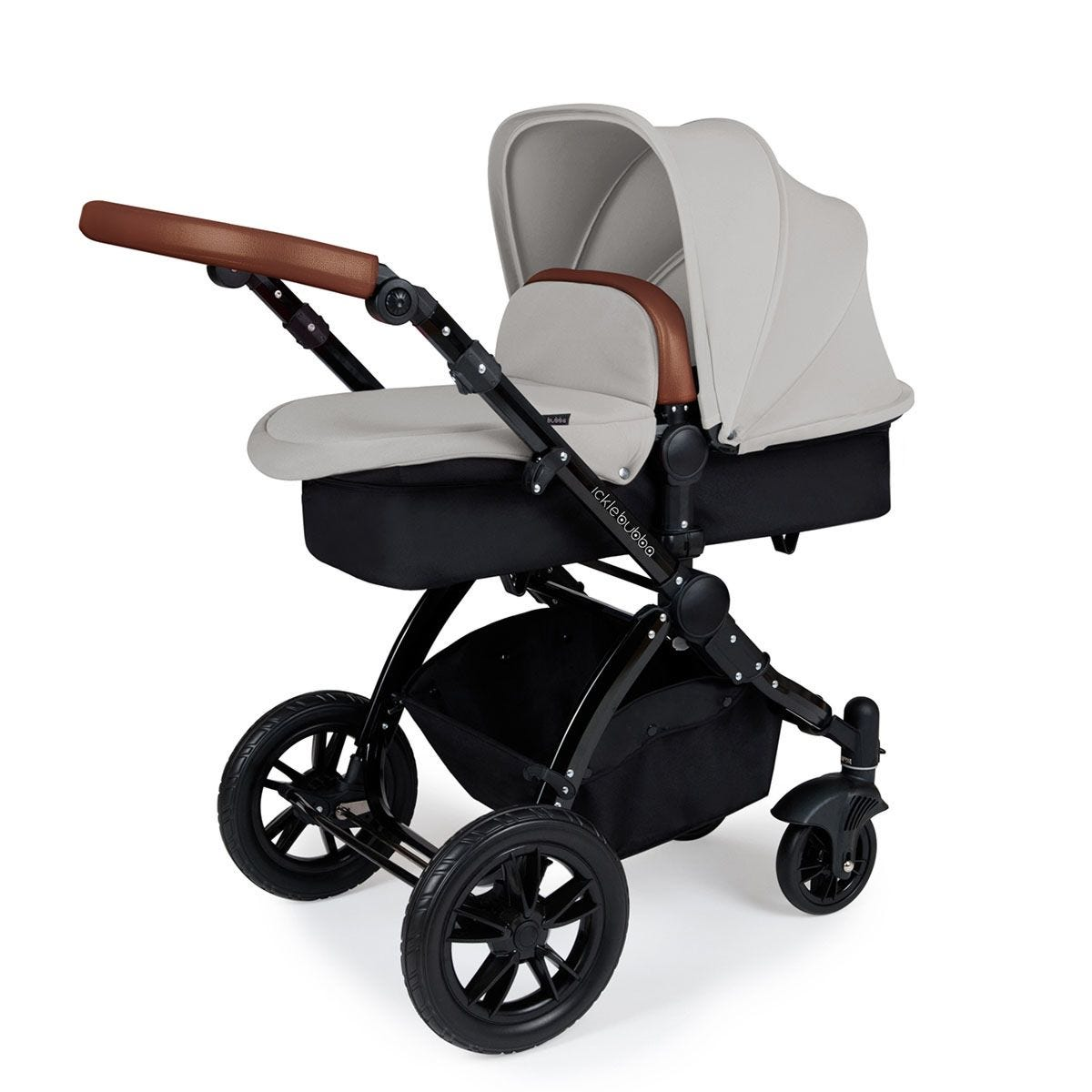 Ickle Bubba Stomp V3 2 in 1 Pushchair - Silver on Black with Tan Handles