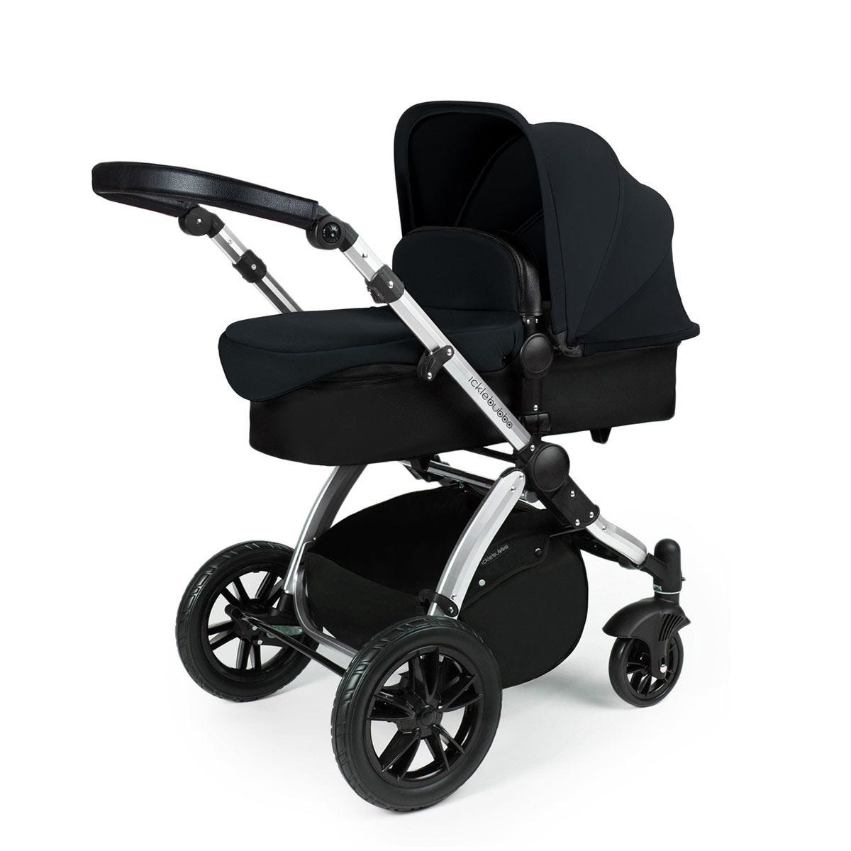 Ickle Bubba Stomp V3 2 in 1 Pushchair - Black on Silver with Black Handles