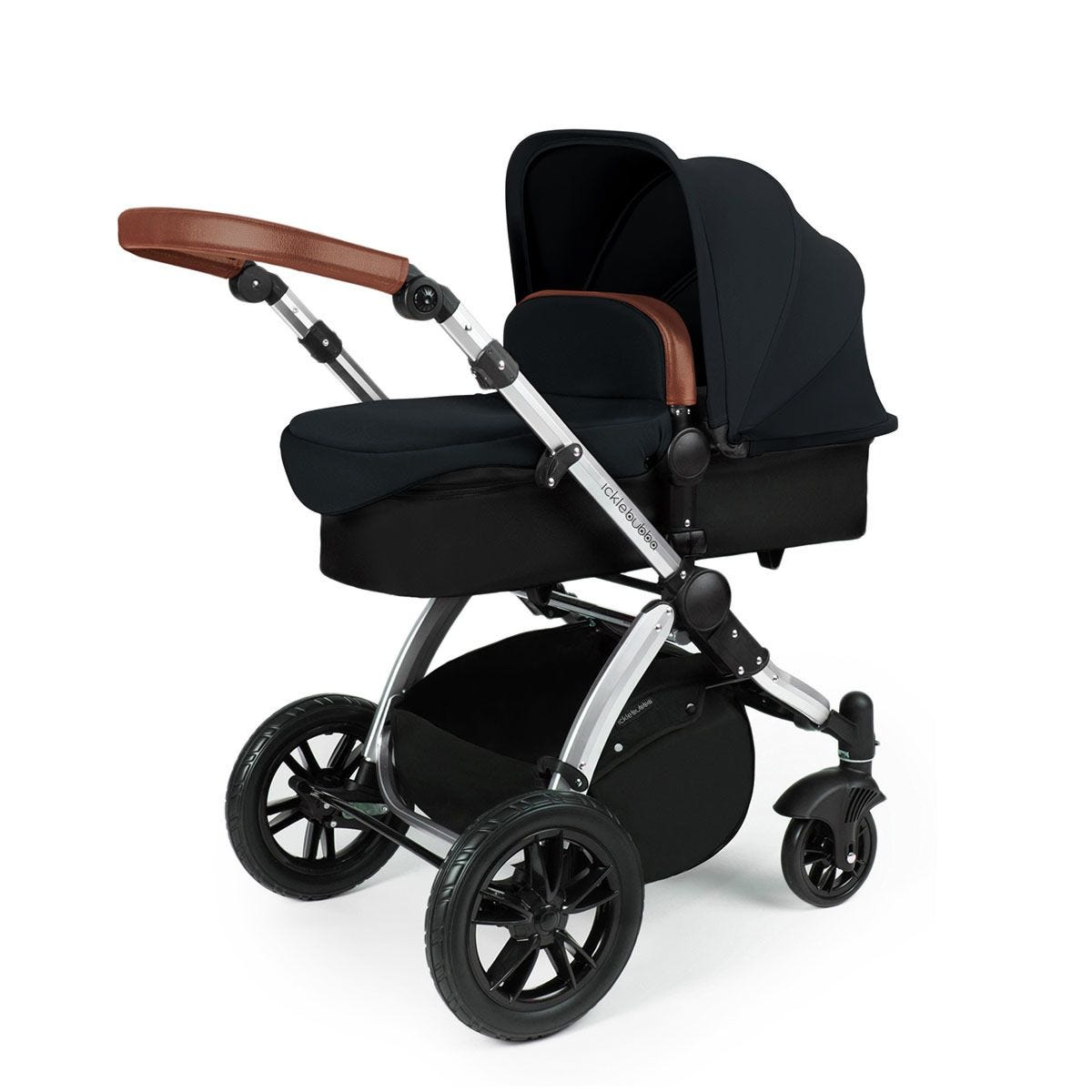 Ickle Bubba Stomp V3 2 in 1 Pushchair - Black on Silver with Tan Handles