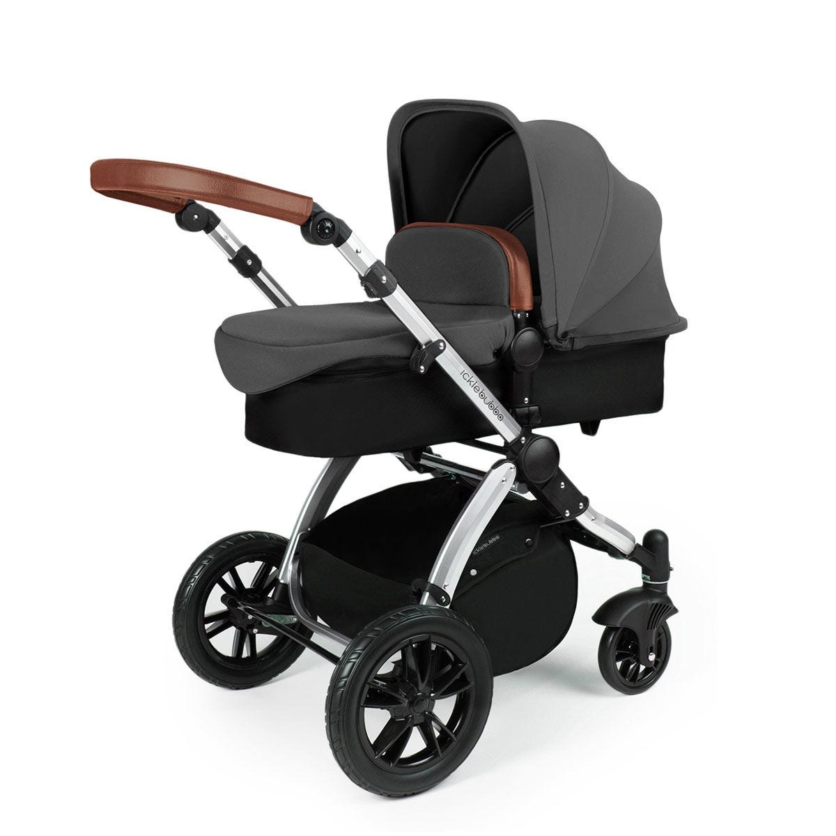 Ickle Bubba Stomp V3 2 in 1 Pushchair - Graphite Grey on Silver with Tan Handles