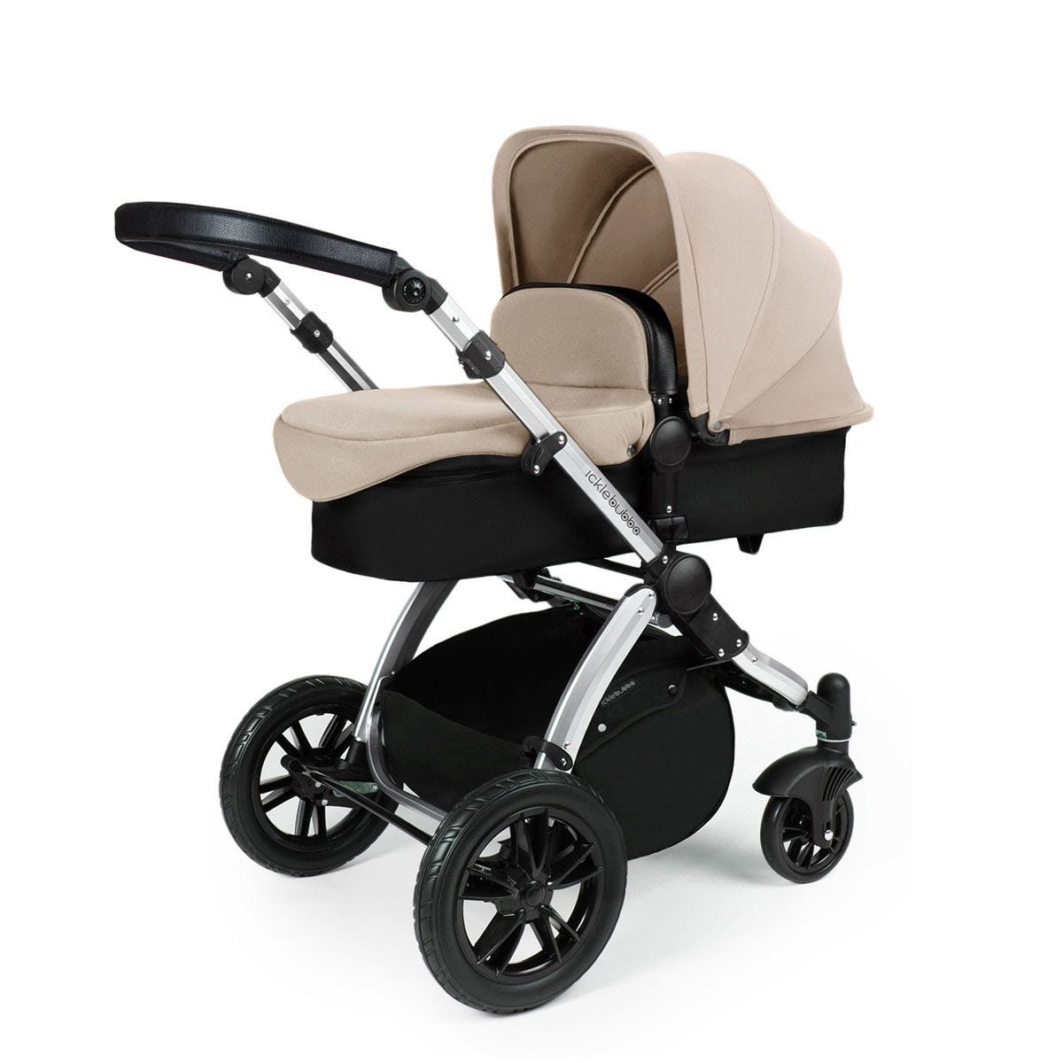 Ickle Bubba Stomp V3 2 in 1 Pushchair - Sand on Silver with Black Handles