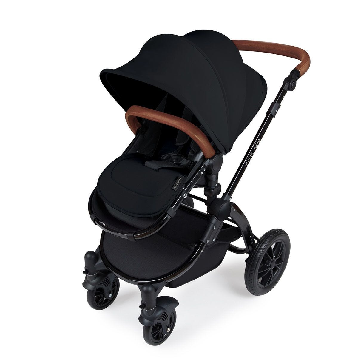 Ickle Bubba Stomp V3 All in One Travel System with Isofix Base - Black on Black with Tan Handles