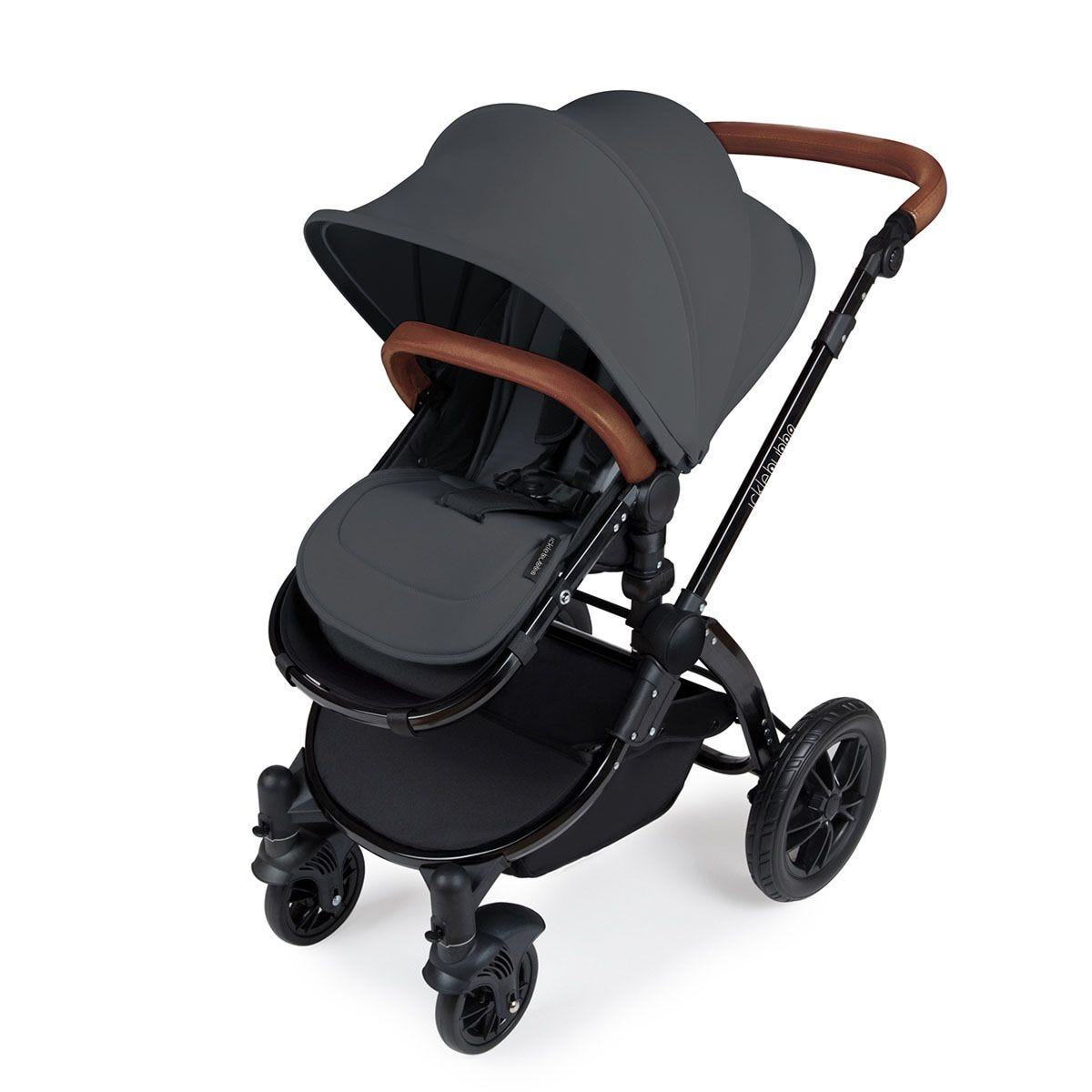 Ickle Bubba Stomp V3 All in One Travel System with Isofix Base - Graphite Grey on Black with Tan Handles