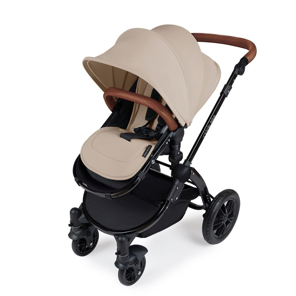Ickle Bubba Stomp V3 All in One Travel System with Isofix Base - Sand on Black with Tan Handles