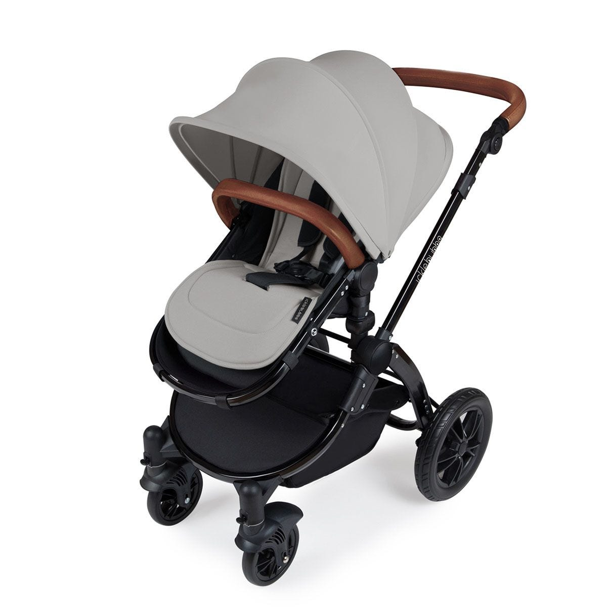 Ickle Bubba Stomp V3 All in One Travel System with Isofix Base - Silver on Black with Tan Handles