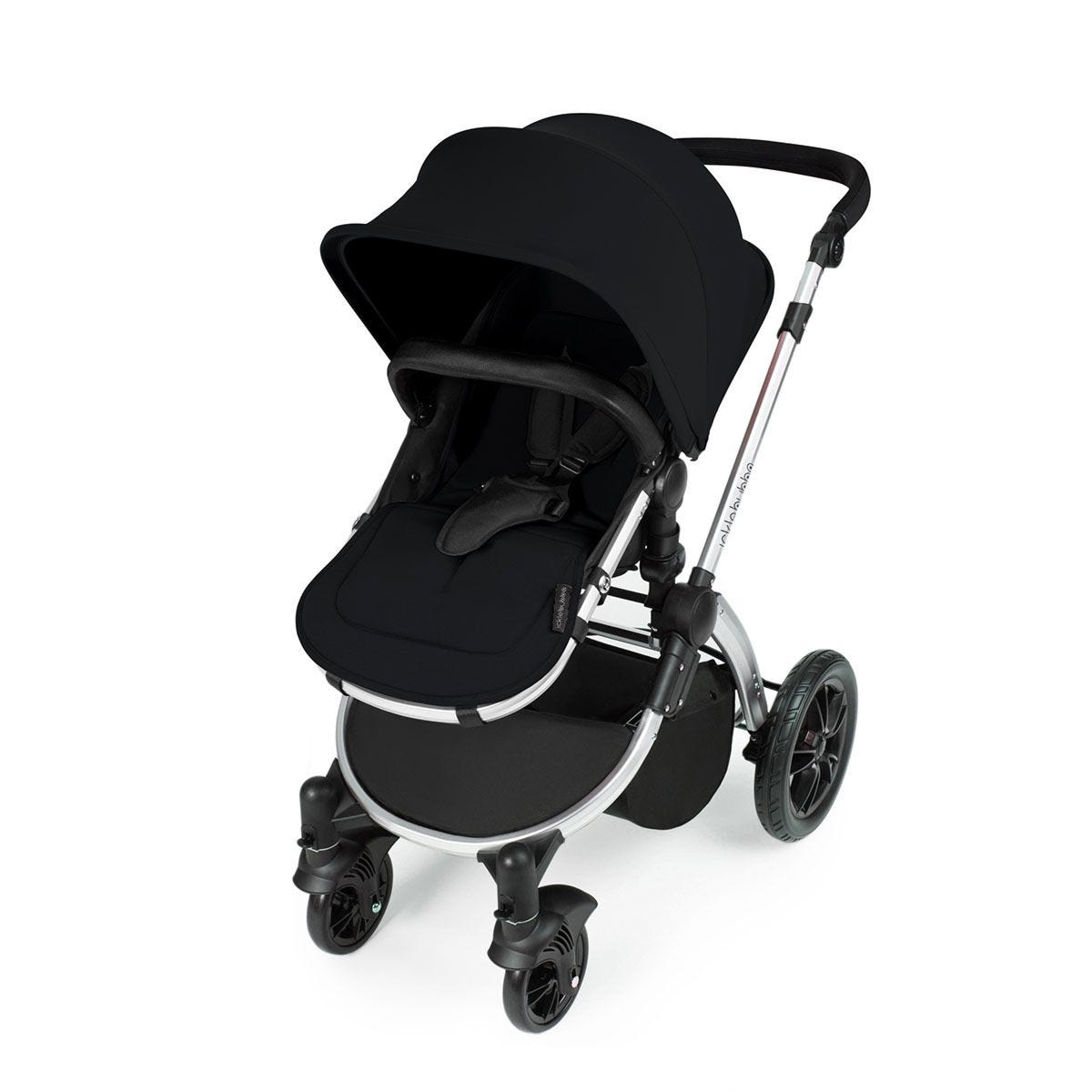 Ickle Bubba Stomp V3 All in One Travel System with Isofix Base - Black on Silver with Black Handles